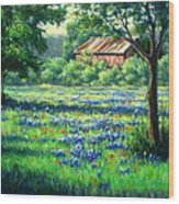 Glen Rose Bluebonnets Wood Print