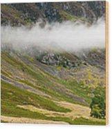 Misty Mountain Landscape Wood Print