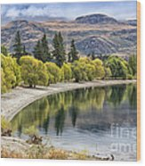 Glendhu Bay Lake Wanaka With Autumnal Trees Wood Print