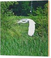 Gliding Egret Wood Print