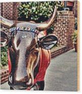 Glitter Bull Wood Print by Emily Kay
