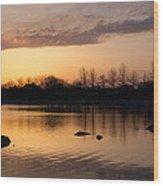 Gloaming - Subtle Pink Lavender And Orange At The Lake Wood Print