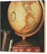 Globe And Books Wood Print
