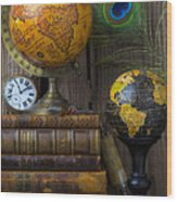 Globes And Old Books Wood Print