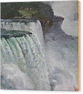Gloomy Day At Niagara Falls Wood Print