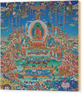 Glorious Sukhavati Realm Of Buddha Amitabha Wood Print by Art School