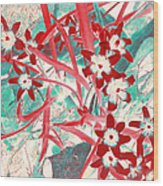 Glory Of The Snow - Red And Turquoise Wood Print