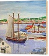 Gloucester Fish Mkt. And Schooners 1939 Wood Print