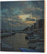 Glowing Aker Brygge Wood Print