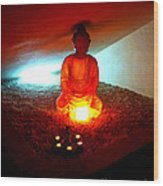 Glowing Buddha Wood Print