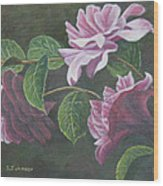 Glowing Camellias Wood Print