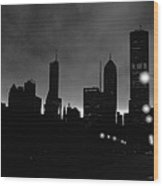 Glowing Chicago Sunset Wood Print