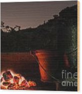 Glowing Coals Wood Print by Patty Descalzi