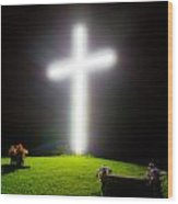 Glowing Cross Wood Print