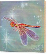 Glowing Dragonfly Wood Print