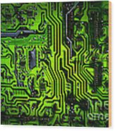 Glowing Green Circuit Board Wood Print