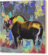 Electric Moose Wood Print