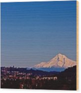 Glowing Mt Hood Wood Print