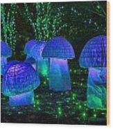 Glowing Mushrooms Wood Print