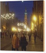 Glowing Old Gdansk Wood Print