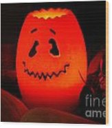 Glowing Pumpkin Wood Print