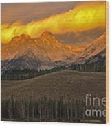 Glowing Sawtooth Mountains Wood Print