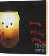 Glowing Snowman Wood Print