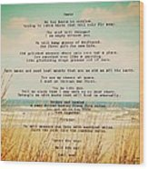 Glowing Soft Surf And Sand With Knots Poem Wood Print