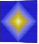 Glowing Star On Blue Wood Print