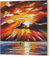 Glowing Sun Wood Print
