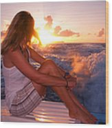 Glowing Sunrise. Greeting New Day  Wood Print