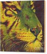 Glowing Tiger Wood Print by Summer Celeste