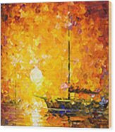 Glows Of Passion - Palette Knife Oil Painting On Canvas By Leonid Afremov Wood Print