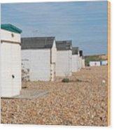 Glyne Gap Beach Huts In Sussex Wood Print