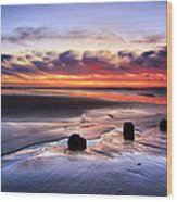 Glyne Gap Sunrise Wood Print by Mark Leader