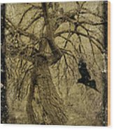 Gnarled And Twisted Tree With Crow Wood Print