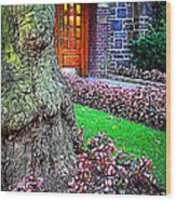 Gnarly Tree With Flowers Wood Print