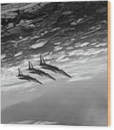 Gnats Inverted Black And White Version Wood Print