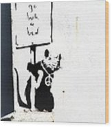 Go Back To Bed Protester Wood Print