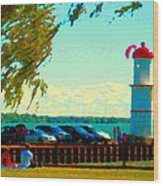 Go Fly A Kite Off A Short Pier Lachine Lighthouse Summer Scene Carole Spandau Montreal Art  Wood Print