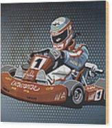 Go-kart Racing Grunge Color Wood Print by Frank Ramspott