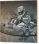 Go-kart Racing Grunge Monochrome Wood Print