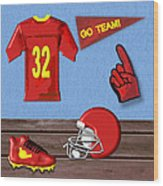 Go Team Tribute To Football Wood Print