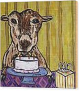Goat At The Birthday Party Wood Print by Jay  Schmetz