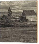 God Bless America Barn Black And White Wood Print