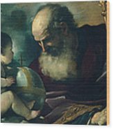 God The Father And Angel Wood Print