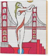 Goddess Of The Golden Gate Wood Print by Michael Friend