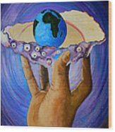 God's Little Blue Pearl Of Great Price Wood Print by Pamorama Jones