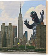 Godzilla And The Empire State Building Wood Print