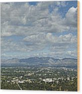 Going Places Cloudy Blue Sky Panoramic Wood Print